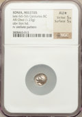 Ancients:Greek, Ancients: IONIA. Miletus. Ca. 500 BC. AR obol (1.23 gm)....
