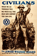 Books:Prints & Leaves, [World War I]. Campaign Poster for the Jewish Welfare Board.[N.p.], 1918. ...