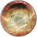 Kennedy Half Dollars: , 1964 50C MS67 PCGS. Majestically toned in multicolored shades ofcarmine, orange, and cobalt-blue. A one-of-a-kind first ye...