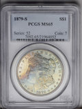 Morgan Dollars: , 1879-S $1 MS65 PCGS. A delightfully toned Gem. The obverse featuresivory, gold, lilac, and s...
