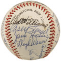 "Autographs:Baseballs, Early 1970's Hall of Famers Multi-Signed Baseball. Official""Baseball Hall of Fame"" horsehide purchased in the Cooperstown ..."
