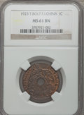French Indo-China, French Indo-China: French Colony Cent 1923 MS61 Brown NGC,...
