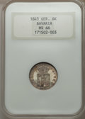 German States:Bavaria, German States: Bavaria. Ludwig I 6 Kreuzer 1845 MS66 NGC,...