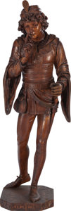 Decorative Arts, Continental:Other , A LARGE VENETIAN CARVED FRUITWOOD FIGURE OF A RENAISSANCE PAGE BOY,circa 1850. Marks engraved to base: C.B. DELATTO, VENE...