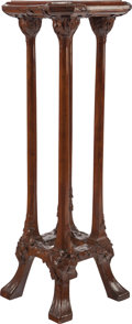 Furniture , ART NOUVEAU CARVED MAHOGANY PEDESTAL, circa 1890. 46-1/2 inches high x 16 inches square (118.1 x 40.6 cm). PROPERTY FROM T...