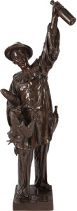 Sculpture, JEAN DIDIER DEBUT BRONZE PIERROT WITH WINE BOTTLE. Circa 1890. 41 inches (104.1 cm) high inscribed: Debut. ...