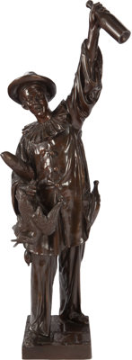 JEAN DIDIER DEBUT BRONZE PIERROT WITH WINE BOTTLE Circa 1890 41 inches (104.1 cm) high inscribed: Debut<