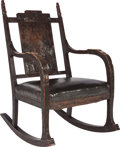 Furniture, AMERICAN ARTS AND CRAFTS LEATHER AND CARVED OAK ROCKER, circa 1905. 40-1/4 x 21-1/4 x 32 inches (102.2 x 54.0 x 81.3 cm). ...