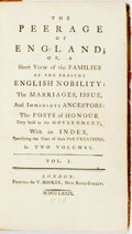 Books:World History, The Peerage of England: or, a Short view of the Families of the Present English Nobility...In Two Volumes. London: T. Bo...