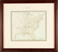 Books:Maps & Atlases, [Maps]. Small Hand-Colored Map of the Eastern United States,Framed. [N.p., n.d., circa 1845]. ...
