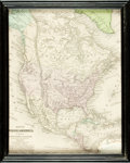 Books:Maps & Atlases, [Maps]. Small Hand-Colored Map of North America, Framed. [N.p.], D.F. Robinson, 1844. ...