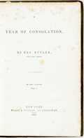 Books:Biography & Memoir, [Frances Ann Kemble]. A Year of Consolation. New York: Wiley& Putnam, 1847. First American edition.. ...