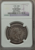 Early Half Dollars, 1795 50C 2 Leaves, O-116, R.4 -- Repaired -- NGC Details. VF....