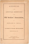 Books:Americana & American History, Neill, Edward D.: ADDRESS AT THE ANNUAL MEETING OF THE OLDSETTLERS' ASSOCIATION...IN THE ACADEMY OF MUSIC, MINNEAPOLIS,FEB...
