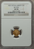California Fractional Gold , 1853 $1 Liberty Octagonal 1 Dollar, BG-524, High R.6, AU58 NGC....