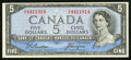 Canadian Currency: , BC-31b $5 Devil's Face 1954. ...