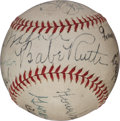 Autographs:Baseballs, 1943-46 Hall of Famers Multi-Signed Baseball with Ruth, Wagner, Johnson....