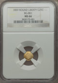 California Fractional Gold , 1859 25C Liberty Round 25 Cents, BG-801, R.3, MS66 NGC....