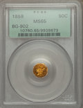 California Fractional Gold , 1859 50C Liberty Octagonal 50 Cents, BG-902, Low R.4, MS65 PCGS....
