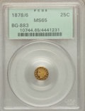 California Fractional Gold , 1878/6 25C Indian Round 25 Cents, BG-883, High R.4, MS65 PCGS....