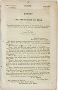 Books:Americana & American History, Mexican War: REPORT OF THE SECRETARY OF WAR, SHOWING THE NUMBER OFTROOPS IN THE SERVICE OF THE UNITED STATES IN MEXICO SINC...