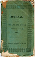 Books:Americana & American History, New Hampshire: JOURNALS OF THE SENATE AND HOUSE, NOVEMBER SESSION,1836. Concord: 1837. Original printed wrappers (torn and ...
