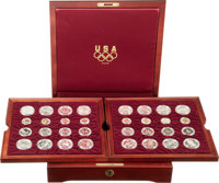 Complete 32-Piece 1995-1996 Atlanta Olympics Commemorative Set in Wooden Case....(PCGS# 9716)