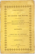 Books:Americana & American History, New York City: COMMUNICATION FROM HIS HONOR THE MAYOR, IN RELATIONTO THE PRECAUTIONARY MEASURES ADOPTED BY HIM TO SECURE TH...