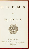 Books:Literature Pre-1900, Thomas Gray. Poems By Mr. Gray. London: J. Dodsley,1768. Krown & Spellman retail: $500. First Londo...
