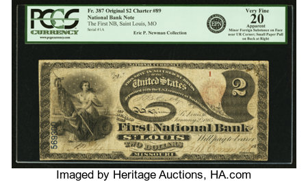 Saint Louis, MO - $2 Original Fr. 387 The First NB Ch. # 89  PCGS Very Fine 20 Apparent. ...