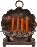 Decorative Arts, Continental:Lamps & Lighting, AN ITALIAN NEOCLASSICAL COPPER AND IRON FOUR-LIGHT CANDLE HOLDER,circa 1890. 24 inches high x 19-1/4 inches wide (61.0 x 48...