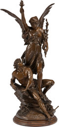 Bronze:European, A PATINATED BRONZE EXCELSIOR FIGURAL GROUP ON A WOOD BASEAFTER EMILE PICAULT, Paris, France, circa 1900. Marks:... (Total: 2Items)