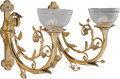 Decorative Arts, American:Lamps & Lighting, A PAIR OF AMERICAN AESTHETIC MOVEMENT BRASS AND ETCHED GLASS ONE-LIGHT WALL SCONCES, circa 1880. 22 inches high (55.9 cm). ... (Total: 2 Items)