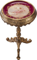 Decorative Arts, Continental:Other , A GERMAN ROYAL VIENNA-STYLE PORCELAIN PLATE SET IN A GILT WOOD SIDETABLE, circa 1875. 28 inches high x 17 inches diameter (...