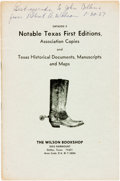 Books:Periodicals, [Texana]. Catalog 3, Notable Texas First Editions, AssociationCopies and Texas Historical Documents, Manuscripts and Ma...