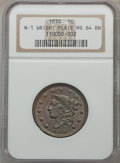 Large Cents, 1838 1C N-1, R.1, MS64 Brown NGC. NGC Census: (7/4). PCGS Population (1/5). Mintage: 6,370,200. ...