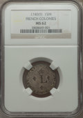 1740(9) SOU M French Colonies Sou Marque MS62 NGC. NGC Census: (0/0). PCGS Population (1/0)....(PCGS# 158655)