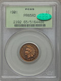 Proof Indian Cents: , 1901 1C PR65 Red PCGS. CAC. PCGS Population (25/33). NGC Census: (12/17). Mintage: 1,985. Numismedia Wsl. Price for problem...
