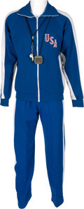 """Miscellaneous Collectibles:General, 1980 Herb Brooks """"Miracle on Ice"""" Training Sweatsuit, Whistle & Stopwatch...."""