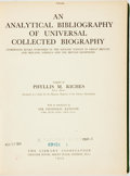 Books:Reference & Bibliography, Phyllis M Riches. An Analytical Bibliography of UniversalCollected Biography. Comprising Books Published in theEnglish...
