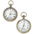 Timepieces:Pocket (post 1900), Elgin G.M. Wheeler With Waltham Dial & A Waltham Pocket WatchesRunners. ... (Total: 2 Items)