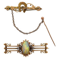 Antique Opal, Diamond, Gold Brooches