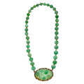 Estate Jewelry:Necklaces, JADEITE JADE, GOLD NECKLACE. ...