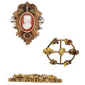 Estate Jewelry:Lots, Lot of Sardonyx, Gold Brooches. ... (Total: 3 Items)