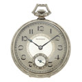 Timepieces:Pocket (post 1900), E. Howard 14k White Gold Open Face Pocket Watch. ...