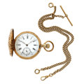 Timepieces:Pocket (post 1900), Swiss Ancre Ligne Broite 14k Gold Hunter's Case Pocket Watch &Heavy 14k Gold Chain. ...