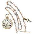 Timepieces:Pocket (post 1900), Swiss Key Wind 18k Gold Pocket Watch With 14k Gold Two Tone Chain....