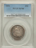 Seated Quarters: , 1851 25C XF40 PCGS. PCGS Population (7/45). NGC Census: (2/26). Mintage: 160,000. Numismedia Wsl. Price for problem free NG...