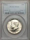 Kennedy Half Dollars: , 1966 50C MS66 PCGS. PCGS Population (62/4). NGC Census: (30/8).Mintage: 108,984,928. Numismedia Wsl. Price for problem fre...