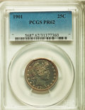 Proof Barber Quarters: , 1901 25C PR62 PCGS. PCGS Population (28/156). NGC Census: (18/175). Mintage: 813. Numismedia Wsl. Price for problem free NG...
